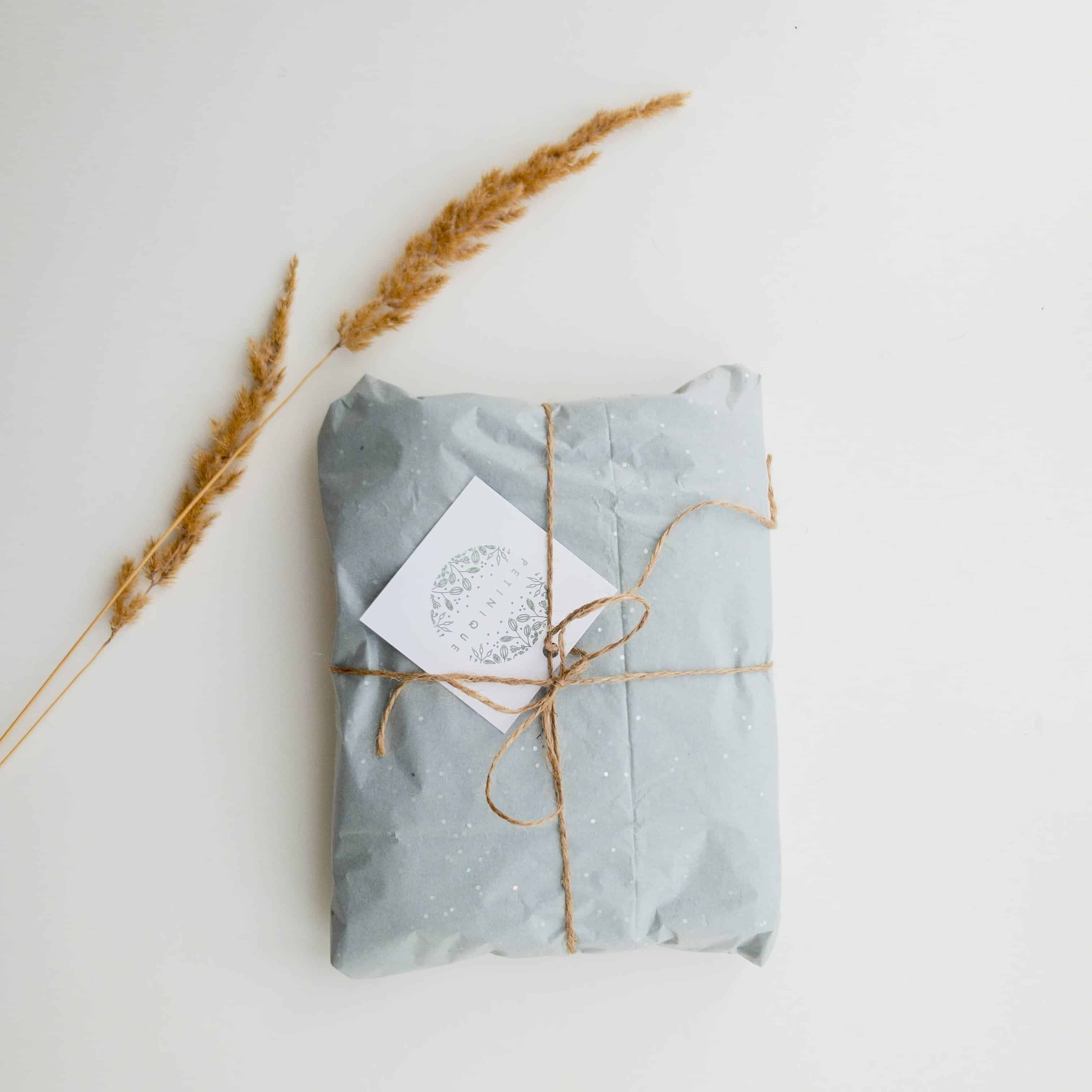 Beautifully wrapped parcel with card.